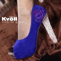 Fashion open toe shoe velvet kvoll ultra high heels platform shoes women's crystal thick heel paper-cut single shoes