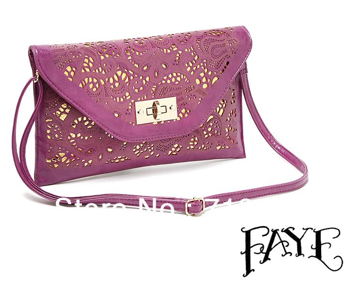 Low Price Ratail Branded Women's Handbag Fashion Laser Carve Design Messenger Bag Women's Envelope Clutch Chain Colour Purple(China (Mainland))