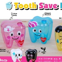 Hot sale,Creative tooth shape transparent storage box / cubby box color random