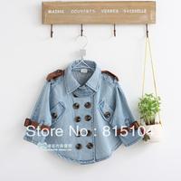 Children 2013 Autumn Girls denim jacket Korean children Double-breasted Bat Long sleeve Jacket free shipping h51