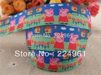 "2013 new arrival 1"" (25mm) peppa pig printed grosgrain ribbon cartoon ribbon satin ribbon 10 yards"