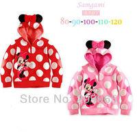 Cute Cartoon Hoodies Polka Dot Baby Girls Coats and Jackets Sweatshirt Fashion Kids Spring Autumn Clothes 2014 Children Clothing