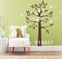 2013 New Design XL Size 150x122cm Tree And Bear Wall Sticker Cartoon Nursery Daycare Baby Room Decor Cartoon Retail