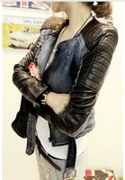 2013 autumn women's short design motorcycle blazer patchwork slim denim coat outerwear