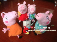 Free shipping 2013 new style Peppa pig family retail 4pcs/set, Peppa George teddy dinosaur plush toy gift to kids and friends