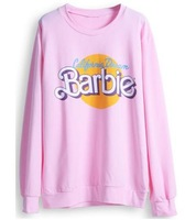 Free Shipping Pink Long Sleeve Barbie Print Casual Sweatshirt