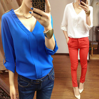 Fashion Womens V Neck Sexy Temperament Rivet Loose Chiffon Casual Shirt Blouse Tops New White Black Blue Free Shipping 80657