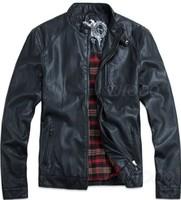 THOOO Wholesale New HOT GENTLEMEN'S Black pu leather classic fashion Slim Coat Motorcycle jacket szie M L XL 2XL 3XL 4XL 5XL