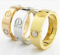 Men Women Gold Titanium steel Rings Wedding Gift Gold Screw with Cubic Zircon Carved Love ( Width: 6MM )  Free Shipping