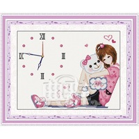 free shipping Print elegant cross stitch kit paintings clock j052