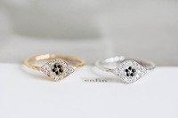 Fashion CZ Evileye Vintage Style Rings Gold Cubic Zirconia Ring For Lady