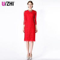High quality red slim three quarter sleeve full lace evening dress autumn cheongsam dress