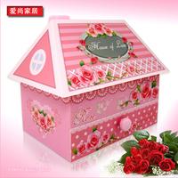 Romantic pink rose makeup mirror music box jewelry box music box birthday gift for girls