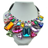 Free Shipping European Big Acrylic Gem Irregular Geometric Short Charm Chunky Collar Necklace With Black Ribbon