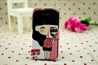 1pcs 2013 New Luxury Fashion Cartoon Character Design  Holster PU Flip Leather Cover Protect Case For iPhone5 Nice Gift #A8
