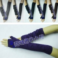 Free shipping 2 pair woman's fashion Fingerless arm mitten winter warm lady thickening cotton long Sleeve gloves g64