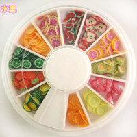 6 Wheels per Lot Nail Art Tip Fimo Decoration Slice, Color Polymer Slice , Fruit Nail Design Ceramic Slice with Free Ship