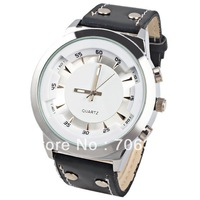 Chic Unisex 9622-1 Watch Needles Hour Marks Round Dial Leather Watch Band