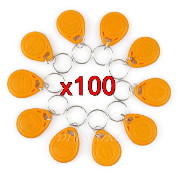 100pcs/lot 125Khz RFID Tag Proximity ID Keyfob Key Tag Electronic Key Door Key Yellow(China (Mainland))