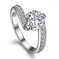 jewelry fleeting Korea SONA classic row drill one karat diamond ring ring wedding ring female KA315