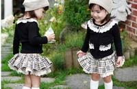 2013 Baby set 4sets /lot girls set Grid 2 pcs (Coat+ skirt) Children Suit Kid Clothes spring wear children sets free shipping