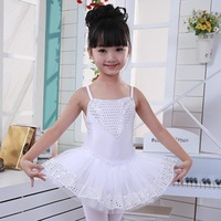 Child ballet skirt female child spaghetti strap paillette dance skirt leotard costume performance wear