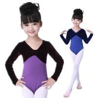 Nice girls ballet dance leotards long sleeve gymnastic leotard dance wear blue/purple free shipping