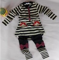 Free shipping 5sets/lot 2013 Autumn baby set girls Bow stripes 2pcs set T-shirt + pants children clothes