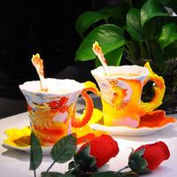 Free Shipping Chinese Dragon Cup Peacock Mug Fashion Wedding Gift High Quality Bone Teapot Set Vintage Chinese Porcelain