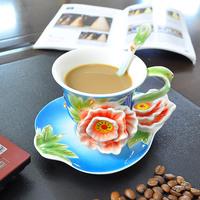 Free shipping!Super Beautiful High Quality 180ml Chinese Ceramic Cup Enamel Porcelain Dazzle Gold Peony Coffee Mug