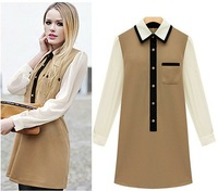Women's Dresses New Fashion 2013 Chiffon Long Sleeves Tunic Turn-Down Collar Contrast Patchwork Camel Black  Dress AW13D031