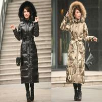 2014 winter Camouflage design long down coat women's  raccoon fur thickening tooling cotton-padded jacketlong coat women