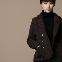 [LYNETTE'S CHINOISERIE - Cotton Talk ] 2013 new arrival coffee woolen short Women outerwear