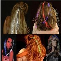 1200pcs/lots LED Light Hair Flashing Hairpin tire color fiber Luminous braid Party Festival Bar Party Fun items
