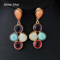Wholesale Fashion Brand Gold Plated Colour Resin Dangle Statement Earrings For Women Jewelry(Min.Order $10 Free Shipping)B57
