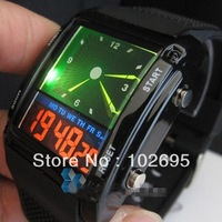 Free shipping  Fashion designed Double Movts Colorful LED Analog and Digital Men Unisex Wrist Watch Sports Wristwatch