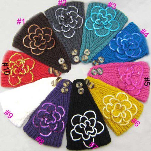 DHL/EMS Free shipping women new knitted sequins flower headband Crochet Ear Warmer head wrap HEAD BAND NECK WRAP MUFF SKI BAND(China (Mainland))
