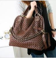 Brand 2013 fashion women handbags high quality Korean WEAVING GRID designers shoulder bags for woman genuine PU leather tote.