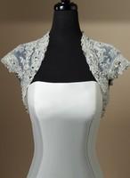 Free Shipping Lace Appliques Bridal Wedding Wraps Jacket Long Or Short Sleeve White/Ivory Custom Made