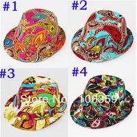 Fashion Cashew Flower Baby Hat Kids Cotton Fedora Hat Infant Jazz Cap Baby Top Hat Trilby Kids Cowboy Hat BH0907