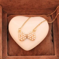 Min.order is $10 (mix order) 31D23 Fashion cheap pearl bow necklace Wholesale !Free shipping!