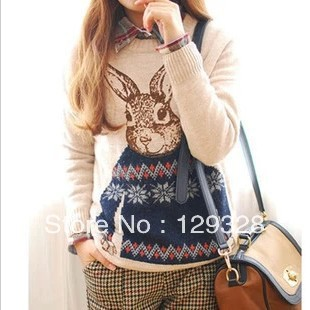 Mr. Rabbit Winter Korean Institute of wind loose pullover sweater round neck sweater thick long-sleeved jacket women