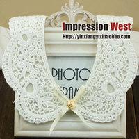 False collar false collar lace cutout flower peter pan collar bow necklace