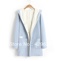 2013  Autumn Ladies Casual Hooded Stitching light blue Coat  jacket 0206