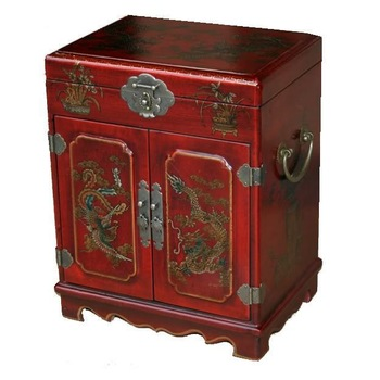 Large Red Chinese Painted Lacquered Jewellery Box with Mirror/ Bedroom Furniture / Free Shiping 1PCS