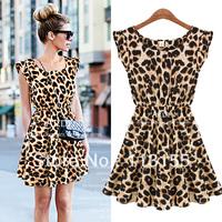 Free shipping 2013  New women one piece dress chiffon leopard print Casual Sundress big size M L XL