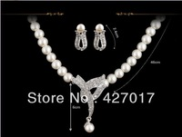 1Set Elegant Imitated Pearl Simulated Bead Bowknot Rhinestone Formal Party Wedding Prom Necklace Earring Set