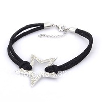 free shipping hot selling 2013 leather bracelets fashion design popular bracelet with five-pointed star charms cheapest price