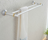 Free shipping New space aluminium double towel rack towel bar wall mounted 59cm brushed aluminum golden silver color bath decor