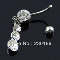 316L Stainless Steel Dangle Gourd Belly Bar Navel Ring Rhinestone Body Piercing Rings Jewelry FreeShipping